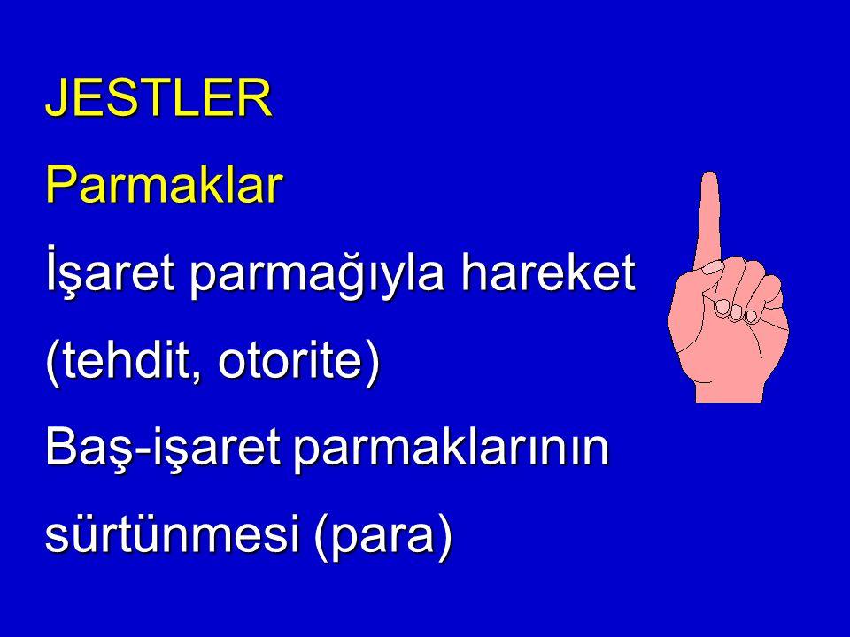 JESTLER Parmaklar İşaret parmağıyla hareket (tehdit, otorite) Baş-işaret parmaklarının sürtünmesi (para)