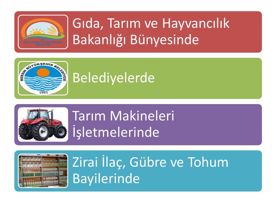 Gıda, Tarım ve Hayvancılık Bakanlığı Bünyesinde Belediyelerde Tarım Makineleri İşletmelerinde Zirai İlaç, Gübre ve Tohum Bayilerinde
