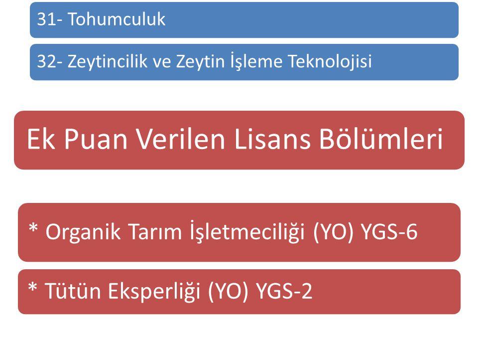 31- Tohumculuk32- Zeytincilik ve Zeytin İşleme Teknolojisi Ek Puan Verilen Lisans Bölümleri * Organik Tarım İşletmeciliği (YO) YGS-6 * Tütün Eksperliğ