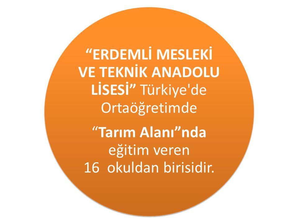 """""""ERDEMLİ MESLEKİ VE TEKNİK ANADOLU LİSESİ"""" Türkiye'de Ortaöğretimde """"Tarım Alanı""""nda eğitim veren 16 okuldan birisidir."""