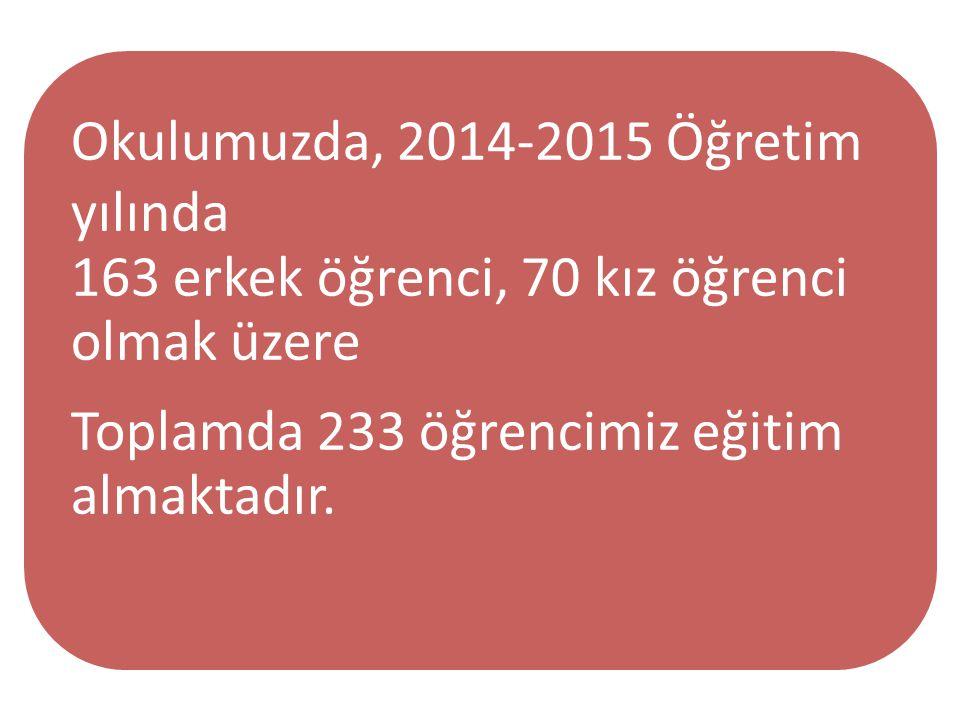 Okulumuzda, 2014-2015 Öğretim yılında 163 erkek öğrenci, 70 kız öğrenci olmak üzere Toplamda 233 öğrencimiz eğitim almaktadır.