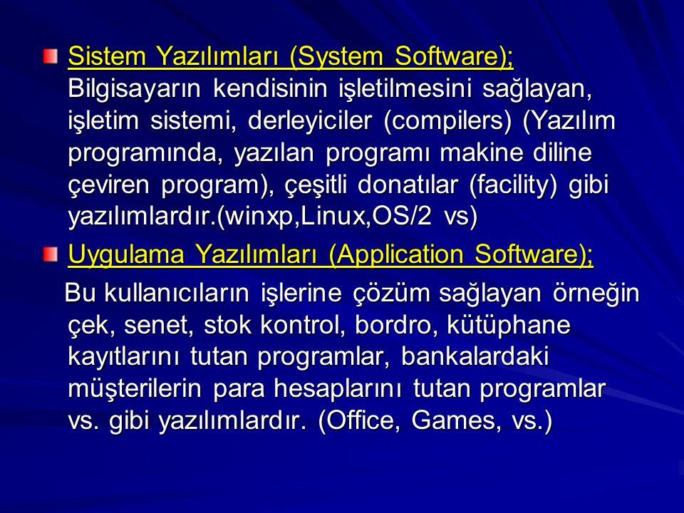 Sistem Yazılımları (System Software); Bilgisayarın kendisinin işletilmesini sağlayan, işletim sistemi, derleyiciler (compilers) (Yazılım programında, yazılan programı makine diline çeviren program), çeşitli donatılar (facility) gibi yazılımlardır.(winxp,Linux,OS/2 vs) Uygulama Yazılımları (Application Software); Bu kullanıcıların işlerine çözüm sağlayan örneğin çek, senet, stok kontrol, bordro, kütüphane kayıtlarını tutan programlar, bankalardaki müşterilerin para hesaplarını tutan programlar vs.