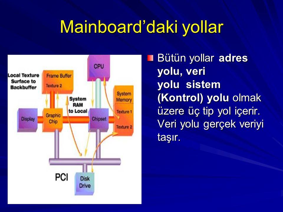 Mainboard'daki yollar Bütün yollar adres yolu, veri yolu sistem (Kontrol) yolu olmak üzere üç tip yol içerir. Veri yolu gerçek veriyi taşır.
