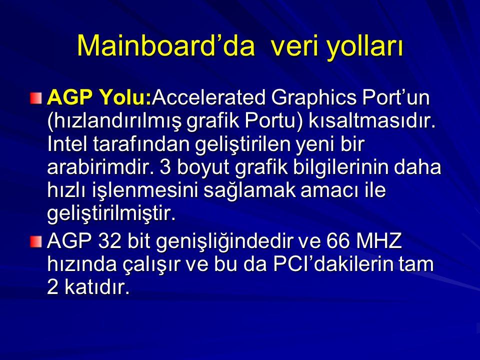 Mainboard'da veri yolları AGP Yolu:Accelerated Graphics Port'un (hızlandırılmış grafik Portu) kısaltmasıdır. Intel tarafından geliştirilen yeni bir ar
