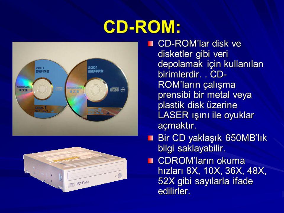CD-ROM: CD-ROM'lar disk ve disketler gibi veri depolamak için kullanılan birimlerdir.. CD- ROM'ların çalışma prensibi bir metal veya plastik disk üzer
