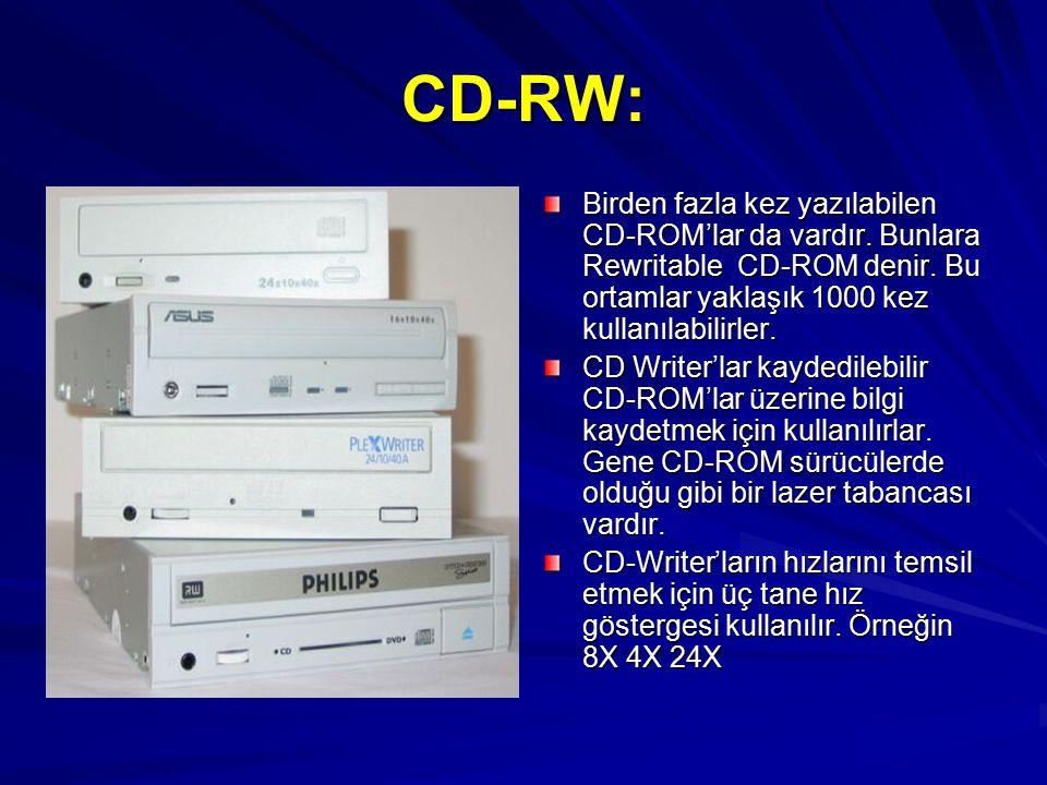 CD-RW: Birden fazla kez yazılabilen CD-ROM'lar da vardır. Bunlara Rewritable CD-ROM denir. Bu ortamlar yaklaşık 1000 kez kullanılabilirler. CD Writer'