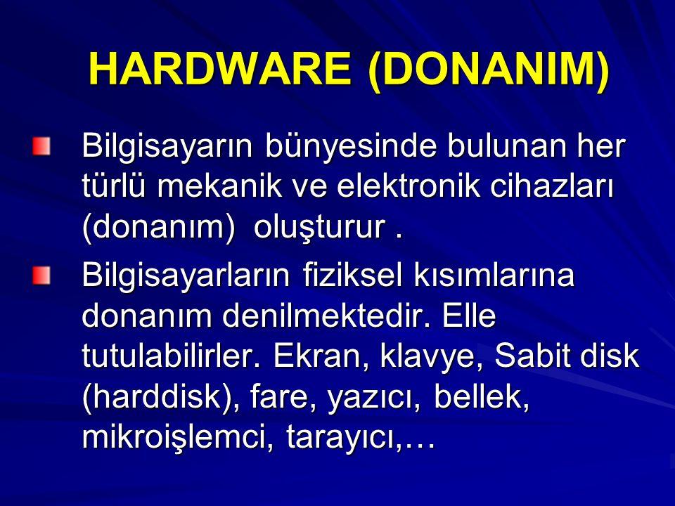 HARDWARE (DONANIM) Bilgisayarın bünyesinde bulunan her türlü mekanik ve elektronik cihazları (donanım) oluşturur. Bilgisayarların fiziksel kısımlarına