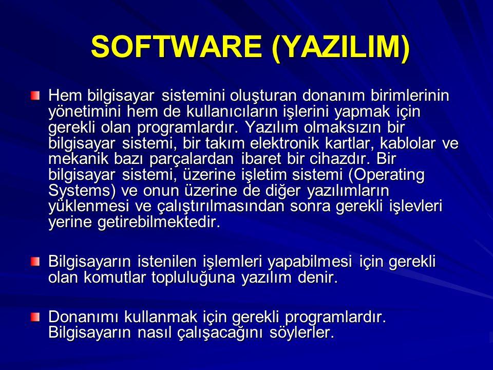 SOFTWARE (YAZILIM) SOFTWARE (YAZILIM) Hem bilgisayar sistemini oluşturan donanım birimlerinin yönetimini hem de kullanıcıların işlerini yapmak için gerekli olan programlardır.