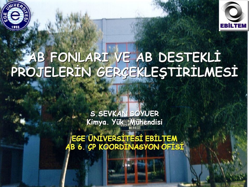 EBİLTEM – AB Koordinasyon Ofisi AB FONLARI VE AB DESTEKLİ PROJELERİN GERÇEKLEŞTİRİLMESİ S.SEVKAN SOYUER Kimya.