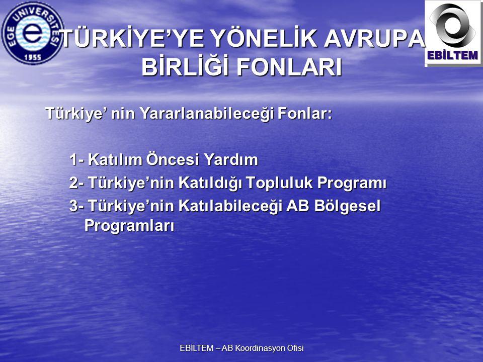 EBİLTEM – AB Koordinasyon Ofisi TÜRKİYE'YE YÖNELİK AVRUPA BİRLİĞİ FONLARI Türkiye' nin Yararlanabileceği Fonlar: 1- Katılım Öncesi Yardım 2- Türkiye'nin Katıldığı Topluluk Programı 3- Türkiye'nin Katılabileceği AB Bölgesel Programları