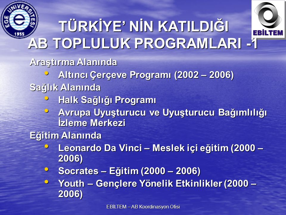 EBİLTEM – AB Koordinasyon Ofisi TÜRKİYE' NİN KATILDIĞI AB TOPLULUK PROGRAMLARI -1 Araştırma Alanında Altıncı Çerçeve Programı (2002 – 2006) Altıncı Çerçeve Programı (2002 – 2006) Sağlık Alanında Halk Sağlığı Programı Halk Sağlığı Programı Avrupa Uyuşturucu ve Uyuşturucu Bağımlılığı İzleme Merkezi Avrupa Uyuşturucu ve Uyuşturucu Bağımlılığı İzleme Merkezi Eğitim Alanında Leonardo Da Vinci – Meslek içi eğitim (2000 – 2006) Leonardo Da Vinci – Meslek içi eğitim (2000 – 2006) Socrates – Eğitim (2000 – 2006) Socrates – Eğitim (2000 – 2006) Youth – Gençlere Yönelik Etkinlikler (2000 – 2006) Youth – Gençlere Yönelik Etkinlikler (2000 – 2006)