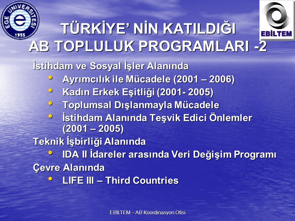 EBİLTEM – AB Koordinasyon Ofisi İstihdam ve Sosyal İşler Alanında Ayrımcılık ile Mücadele (2001 – 2006) Ayrımcılık ile Mücadele (2001 – 2006) Kadın Erkek Eşitliği (2001- 2005) Kadın Erkek Eşitliği (2001- 2005) Toplumsal Dışlanmayla Mücadele Toplumsal Dışlanmayla Mücadele İstihdam Alanında Teşvik Edici Önlemler (2001 – 2005) İstihdam Alanında Teşvik Edici Önlemler (2001 – 2005) Teknik İşbirliği Alanında IDA II İdareler arasında Veri Değişim Programı IDA II İdareler arasında Veri Değişim Programı Çevre Alanında LIFE III – Third Countries LIFE III – Third Countries TÜRKİYE' NİN KATILDIĞI AB TOPLULUK PROGRAMLARI -2