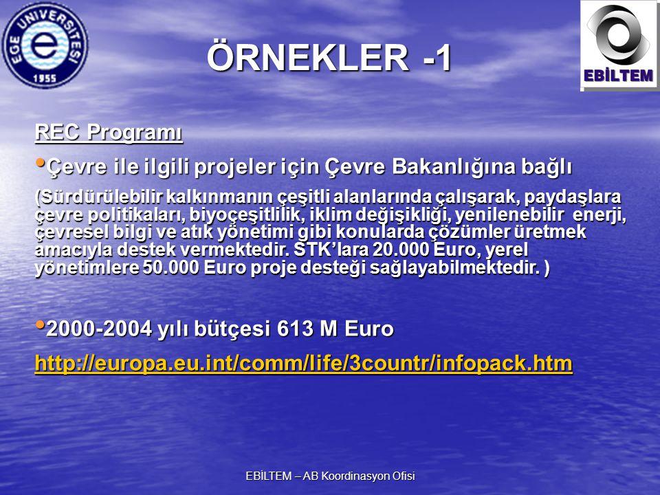 EBİLTEM – AB Koordinasyon Ofisi REC Programı Çevre ile ilgili projeler için Çevre Bakanlığına bağlı Çevre ile ilgili projeler için Çevre Bakanlığına b