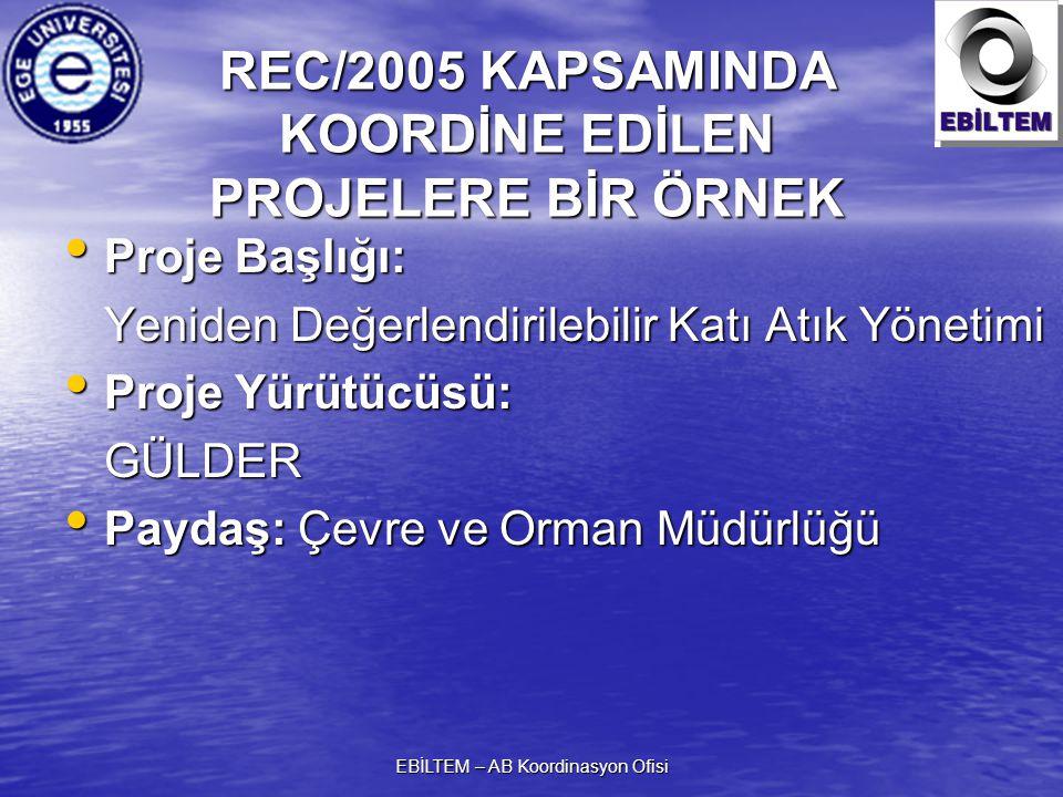 EBİLTEM – AB Koordinasyon Ofisi REC/2005 KAPSAMINDA KOORDİNE EDİLEN PROJELERE BİR ÖRNEK Proje Başlığı: Proje Başlığı: Yeniden Değerlendirilebilir Katı