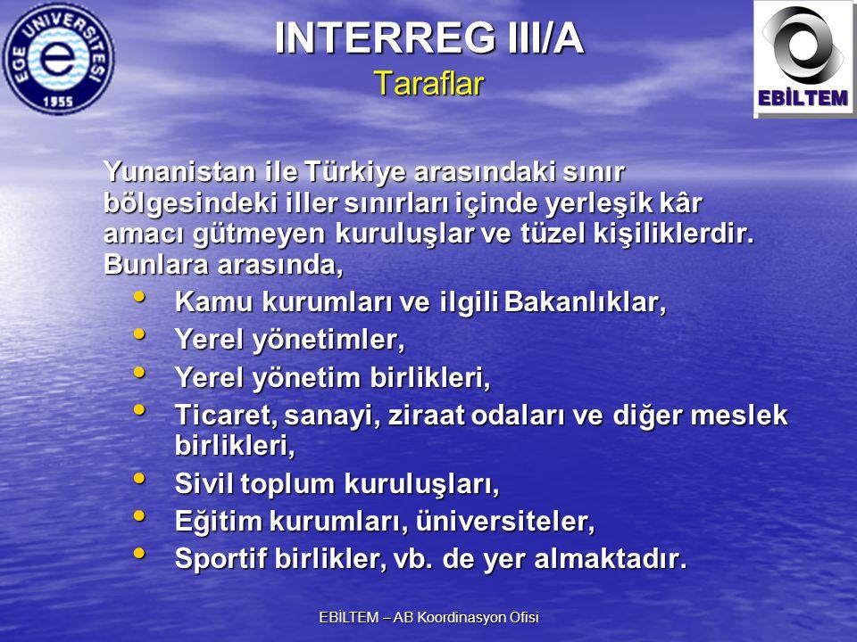 EBİLTEM – AB Koordinasyon Ofisi INTERREG III/A Taraflar Yunanistan ile Türkiye arasındaki sınır bölgesindeki iller sınırları içinde yerleşik kâr amacı gütmeyen kuruluşlar ve tüzel kişiliklerdir.