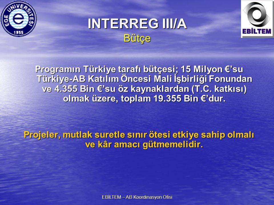 EBİLTEM – AB Koordinasyon Ofisi INTERREG III/A Bütçe Programın Türkiye tarafı bütçesi; 15 Milyon €'su Türkiye-AB Katılım Öncesi Mali İşbirliği Fonunda