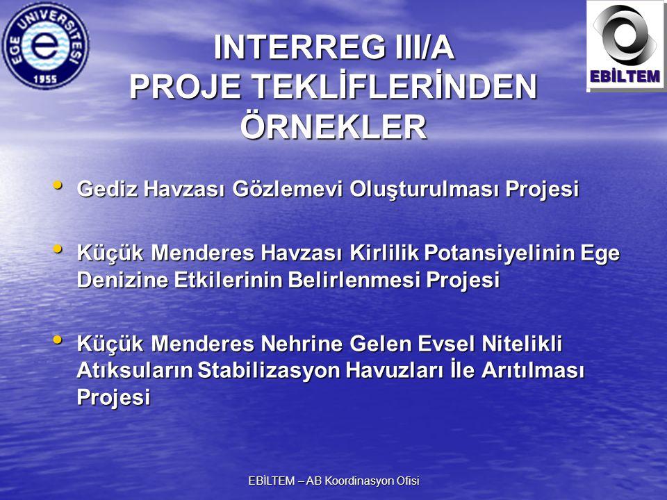 EBİLTEM – AB Koordinasyon Ofisi INTERREG III/A PROJE TEKLİFLERİNDEN ÖRNEKLER Gediz Havzası Gözlemevi Oluşturulması Projesi Gediz Havzası Gözlemevi Oluşturulması Projesi Küçük Menderes Havzası Kirlilik Potansiyelinin Ege Denizine Etkilerinin Belirlenmesi Projesi Küçük Menderes Havzası Kirlilik Potansiyelinin Ege Denizine Etkilerinin Belirlenmesi Projesi Küçük Menderes Nehrine Gelen Evsel Nitelikli Atıksuların Stabilizasyon Havuzları İle Arıtılması Projesi Küçük Menderes Nehrine Gelen Evsel Nitelikli Atıksuların Stabilizasyon Havuzları İle Arıtılması Projesi