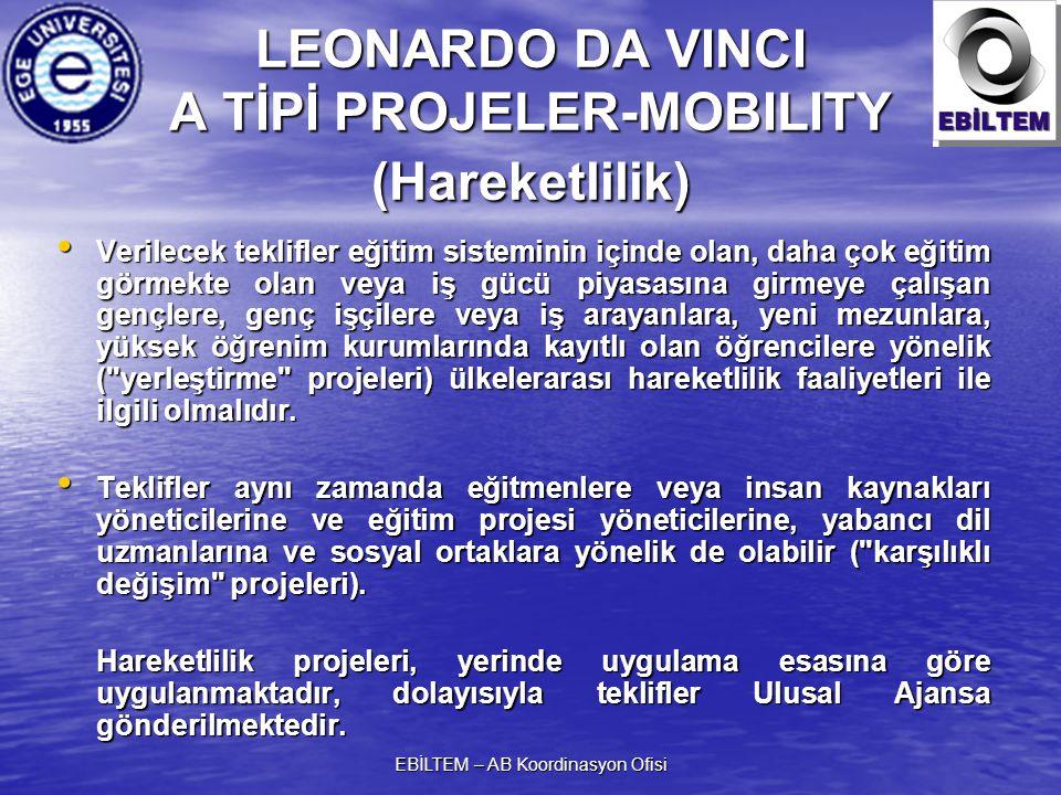 EBİLTEM – AB Koordinasyon Ofisi LEONARDO DA VINCI A TİPİ PROJELER-MOBILITY (Hareketlilik) Verilecek teklifler eğitim sisteminin içinde olan, daha çok