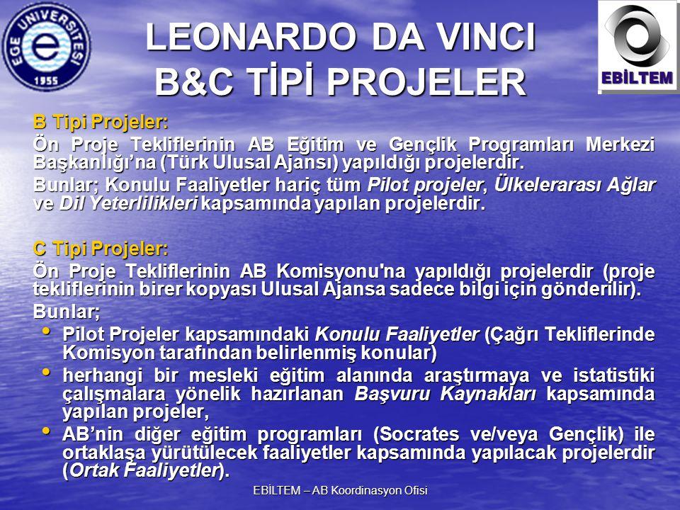 EBİLTEM – AB Koordinasyon Ofisi LEONARDO DA VINCI B&C TİPİ PROJELER B Tipi Projeler: Ön Proje Tekliflerinin AB Eğitim ve Gençlik Programları Merkezi Başkanlığı'na (Türk Ulusal Ajansı) yapıldığı projelerdir.