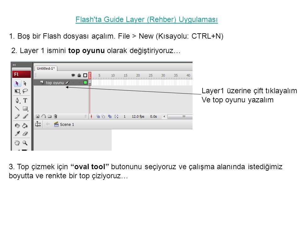 1. Boş bir Flash dosyası açalım. File > New (Kısayolu: CTRL+N) Flash'ta Guide Layer (Rehber) Uygulaması 2. Layer 1 ismini top oyunu olarak değiştiriyo