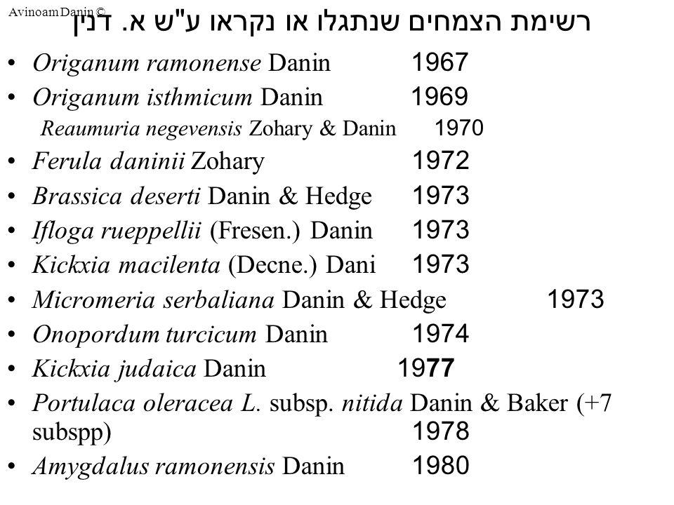 Avinoam Danin © רשימת הצמחים שנתגלו או נקראו ע ש א.