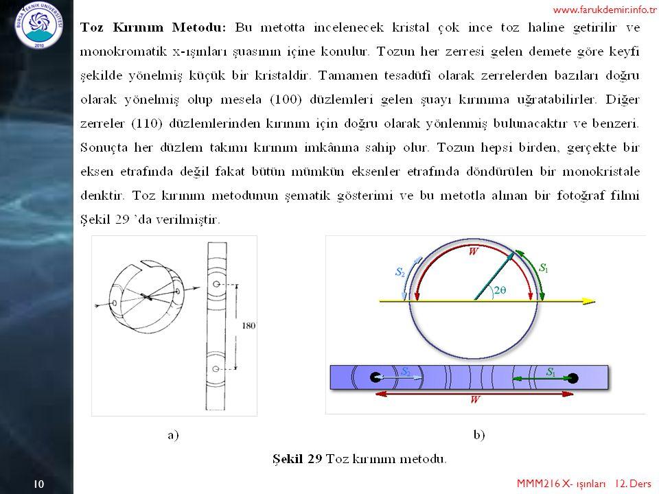 10 MMM216 X- ışınları 12. Ders www.farukdemir.info.tr