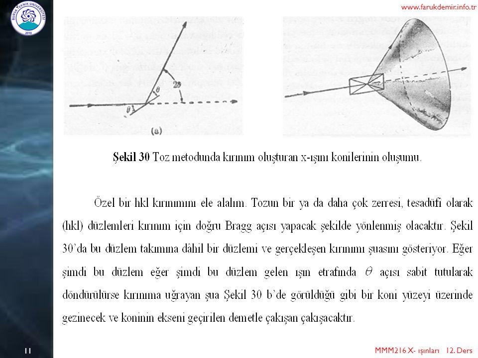 11 MMM216 X- ışınları 12. Ders www.farukdemir.info.tr