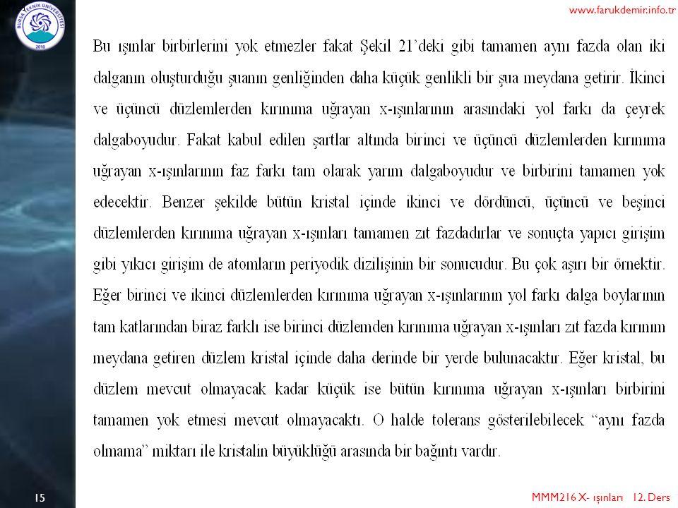 15 MMM216 X- ışınları 12. Ders www.farukdemir.info.tr
