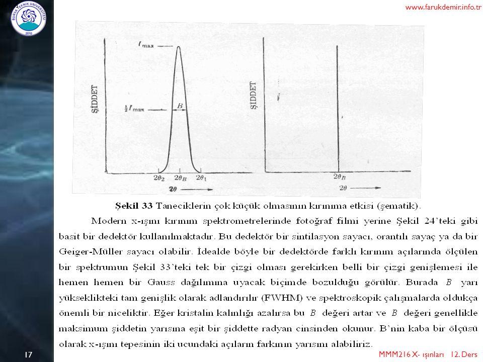 17 MMM216 X- ışınları 12. Ders www.farukdemir.info.tr
