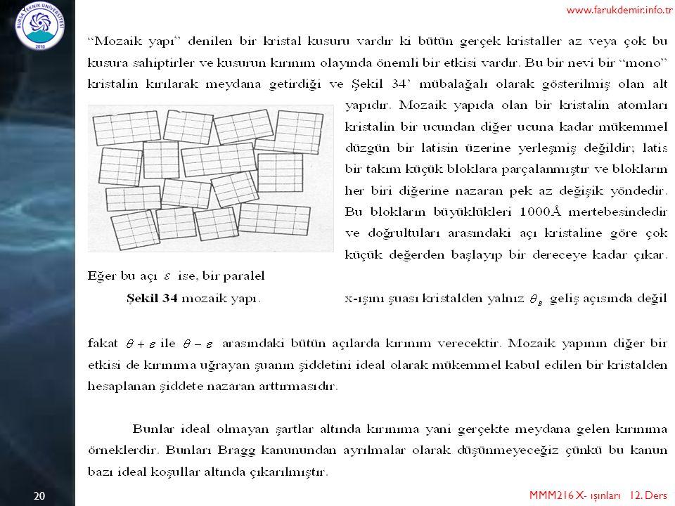 20 MMM216 X- ışınları 12. Ders www.farukdemir.info.tr