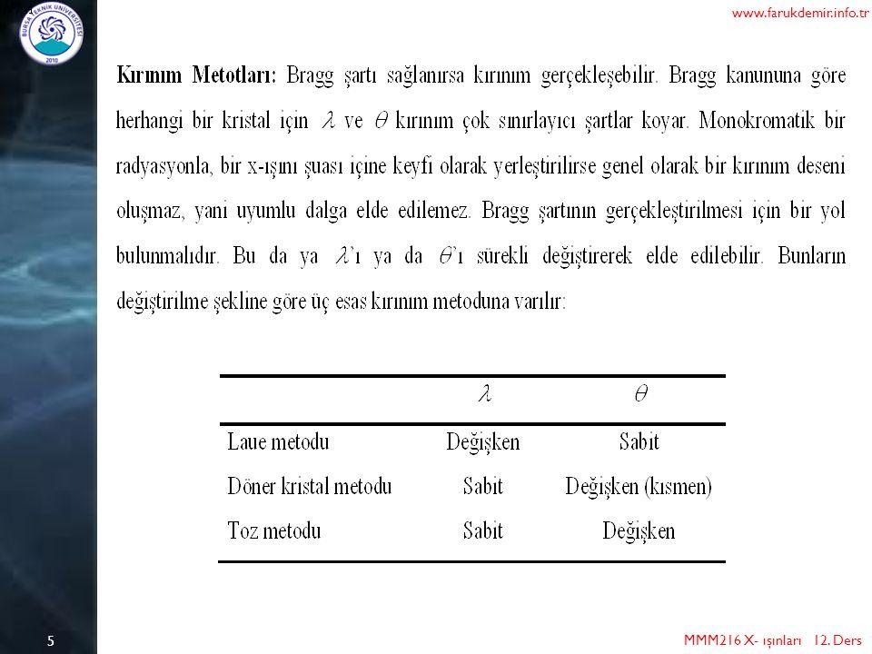 6 MMM216 X- ışınları 12. Ders www.farukdemir.info.tr