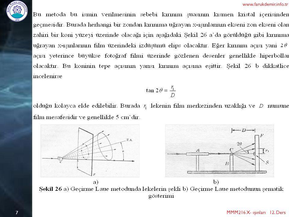 8 MMM216 X- ışınları 12. Ders www.farukdemir.info.tr