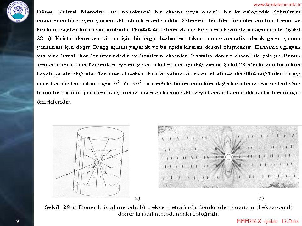9 MMM216 X- ışınları 12. Ders www.farukdemir.info.tr