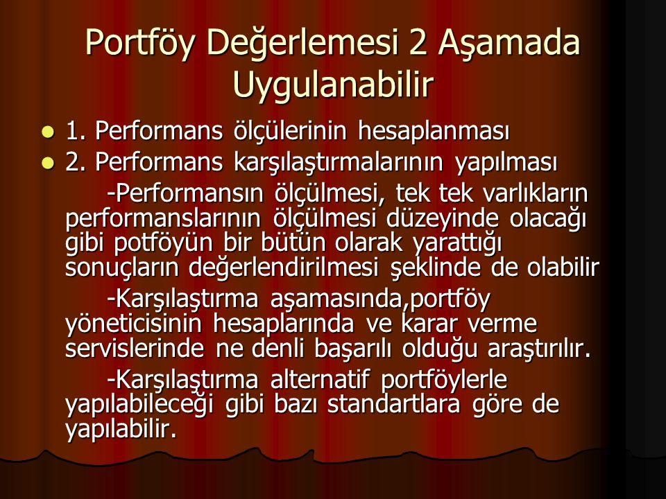 Portföy Değerlemesi 2 Aşamada Uygulanabilir 1. Performans ölçülerinin hesaplanması 1. Performans ölçülerinin hesaplanması 2. Performans karşılaştırmal