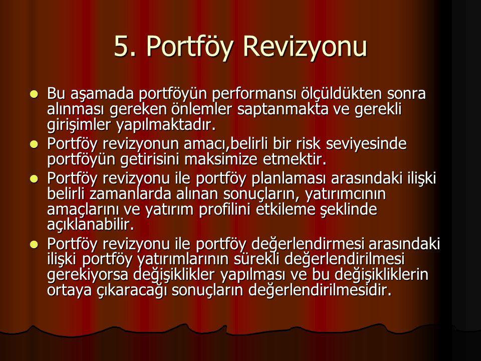 5. Portföy Revizyonu Bu aşamada portföyün performansı ölçüldükten sonra alınması gereken önlemler saptanmakta ve gerekli girişimler yapılmaktadır. Bu