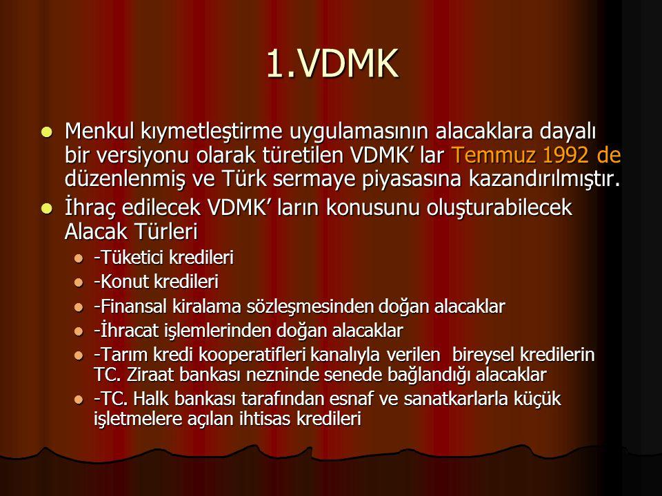 1.VDMK Menkul kıymetleştirme uygulamasının alacaklara dayalı bir versiyonu olarak türetilen VDMK' lar Temmuz 1992 de düzenlenmiş ve Türk sermaye piyas