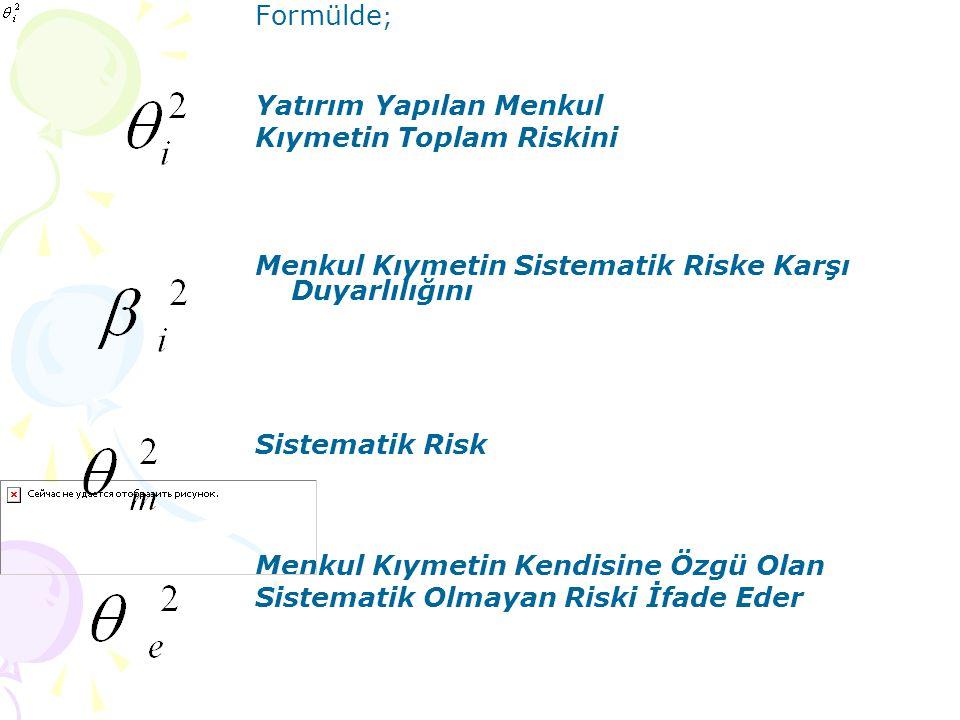 Formülde ; Yatırım Yapılan Menkul Kıymetin Toplam Riskini Menkul Kıymetin Sistematik Riske Karşı Duyarlılığını Sistematik Risk Menkul Kıymetin Kendisi