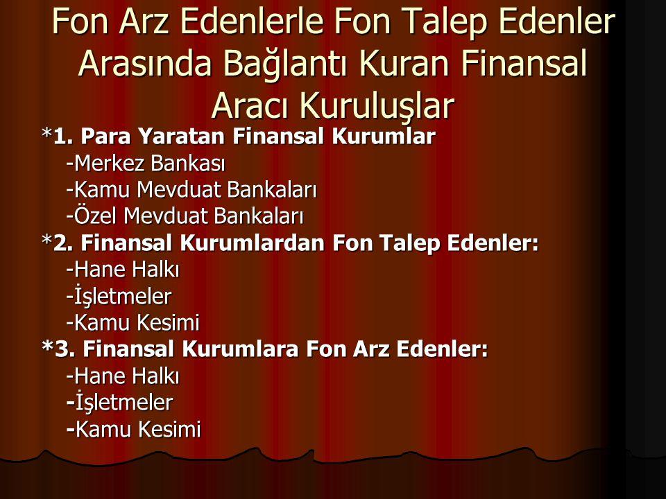 Fon Arz Edenlerle Fon Talep Edenler Arasında Bağlantı Kuran Finansal Aracı Kuruluşlar *1. Para Yaratan Finansal Kurumlar -Merkez Bankası -Kamu Mevduat