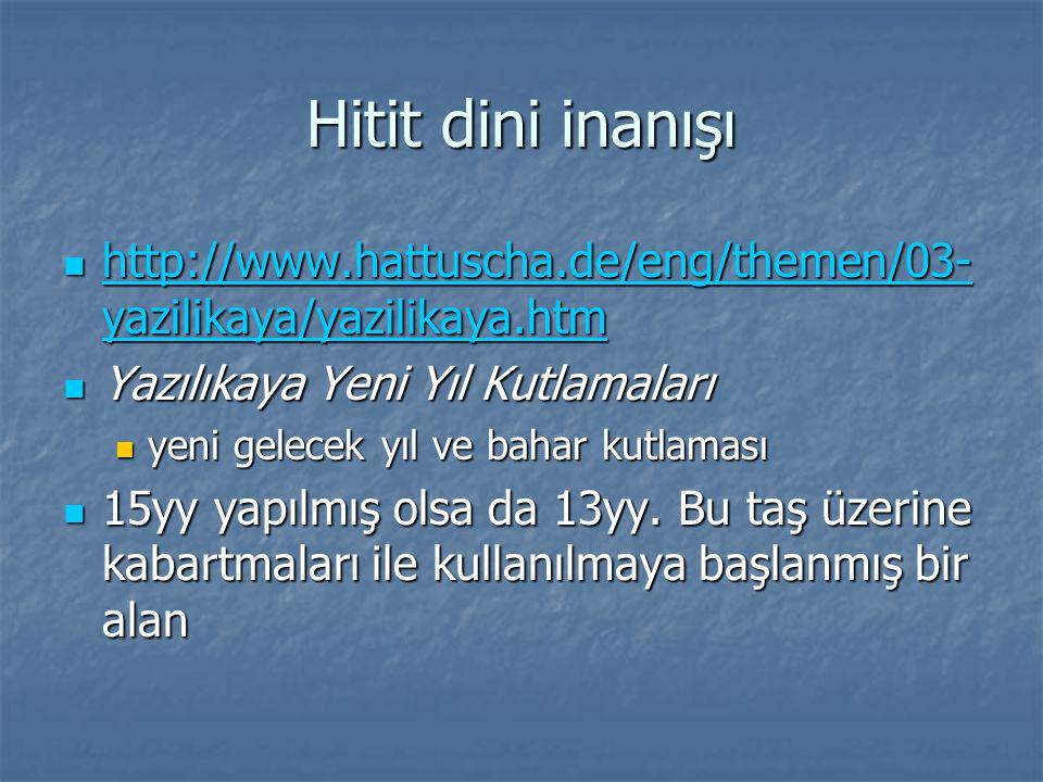 Hitit dini inanışı http://www.hattuscha.de/eng/themen/03- yazilikaya/yazilikaya.htm http://www.hattuscha.de/eng/themen/03- yazilikaya/yazilikaya.htm http://www.hattuscha.de/eng/themen/03- yazilikaya/yazilikaya.htm http://www.hattuscha.de/eng/themen/03- yazilikaya/yazilikaya.htm Yazılıkaya Yeni Yıl Kutlamaları Yazılıkaya Yeni Yıl Kutlamaları yeni gelecek yıl ve bahar kutlaması yeni gelecek yıl ve bahar kutlaması 15yy yapılmış olsa da 13yy.