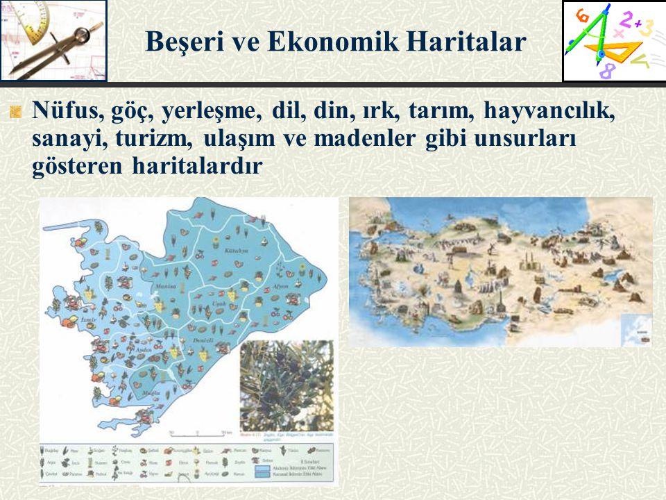 Nüfus, göç, yerleşme, dil, din, ırk, tarım, hayvancılık, sanayi, turizm, ulaşım ve madenler gibi unsurları gösteren haritalardır Beşeri ve Ekonomik Ha