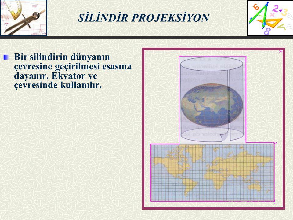 SİLİNDİR PROJEKSİYON Bir silindirin dünyanın çevresine geçirilmesi esasına dayanır. Ekvator ve çevresinde kullanılır.