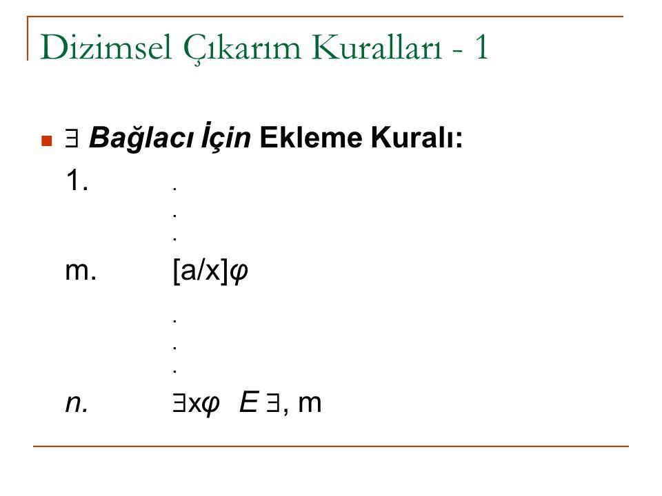 Dizimsel Çıkarım Kuralları - 1  Bağlacı İçin Ekleme Kuralı: 1... m.[a/x]φ. n.  x φ E , m