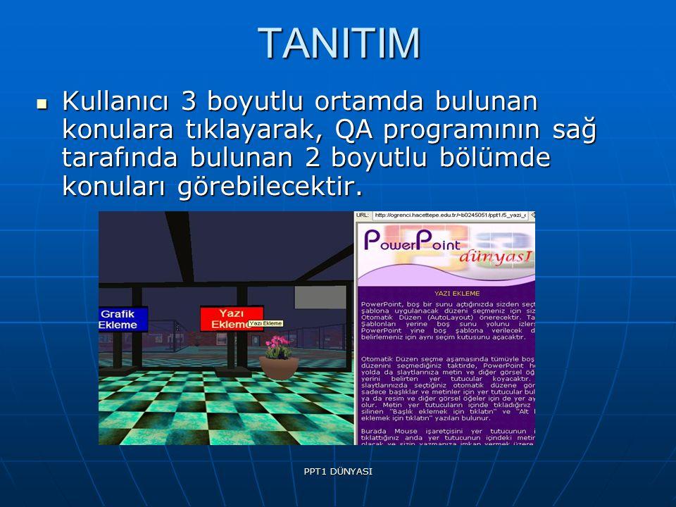 TANITIM Kullanıcı 3 boyutlu ortamda bulunan konulara tıklayarak, QA programının sağ tarafında bulunan 2 boyutlu bölümde konuları görebilecektir.