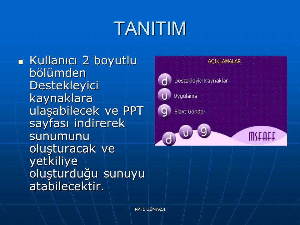 PPT1 DÜNYASI TANITIM Kullanıcı 2 boyutlu bölümden Destekleyici kaynaklara ulaşabilecek ve PPT sayfası indirerek sunumunu oluşturacak ve yetkiliye oluşturduğu sunuyu atabilecektir.