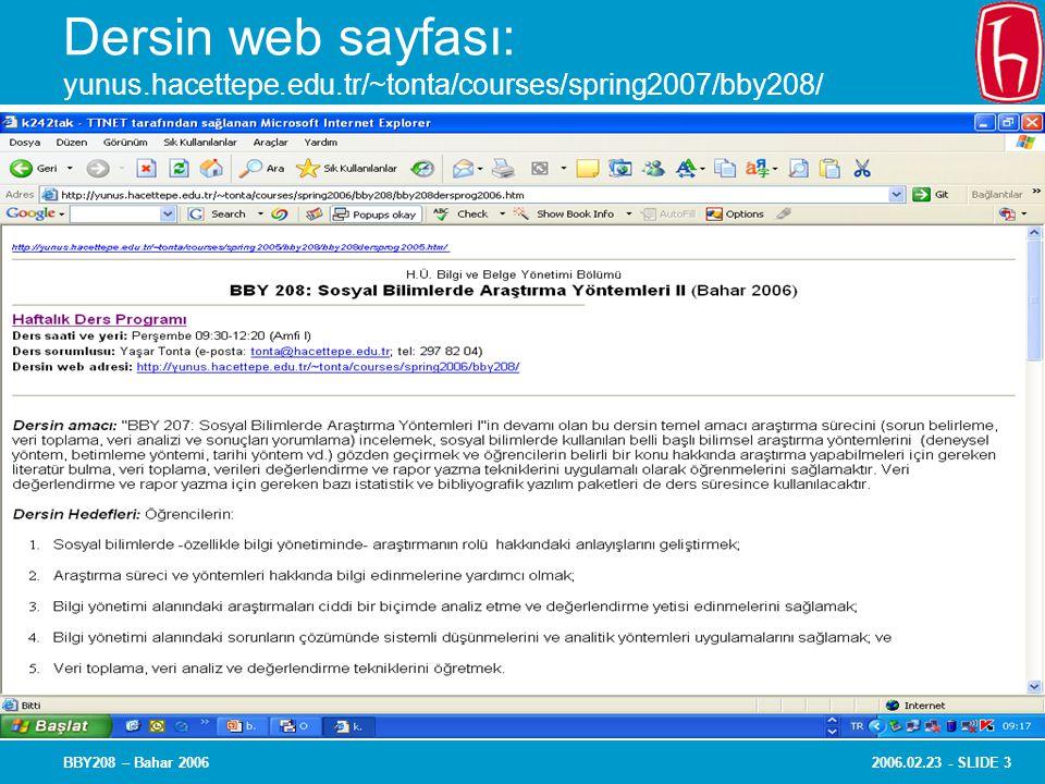2006.02.23 - SLIDE 3BBY208 – Bahar 2006 Dersin web sayfası: yunus.hacettepe.edu.tr/~tonta/courses/spring2007/bby208/