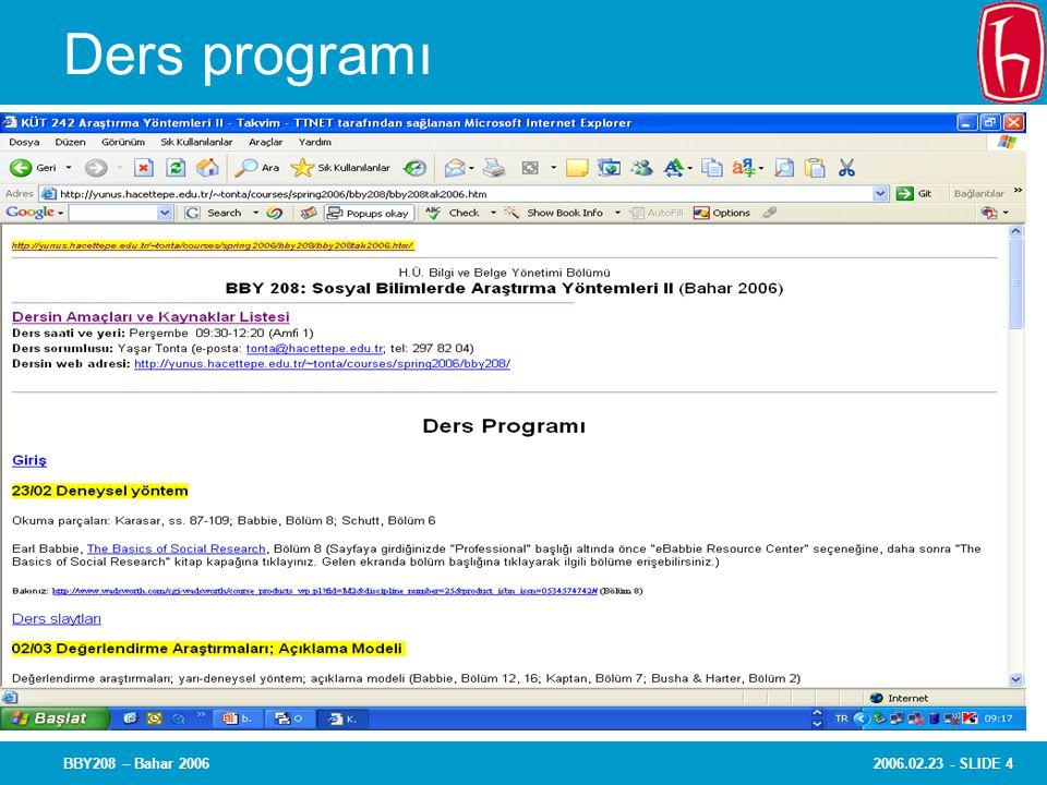 2006.02.23 - SLIDE 4BBY208 – Bahar 2006 Ders programı