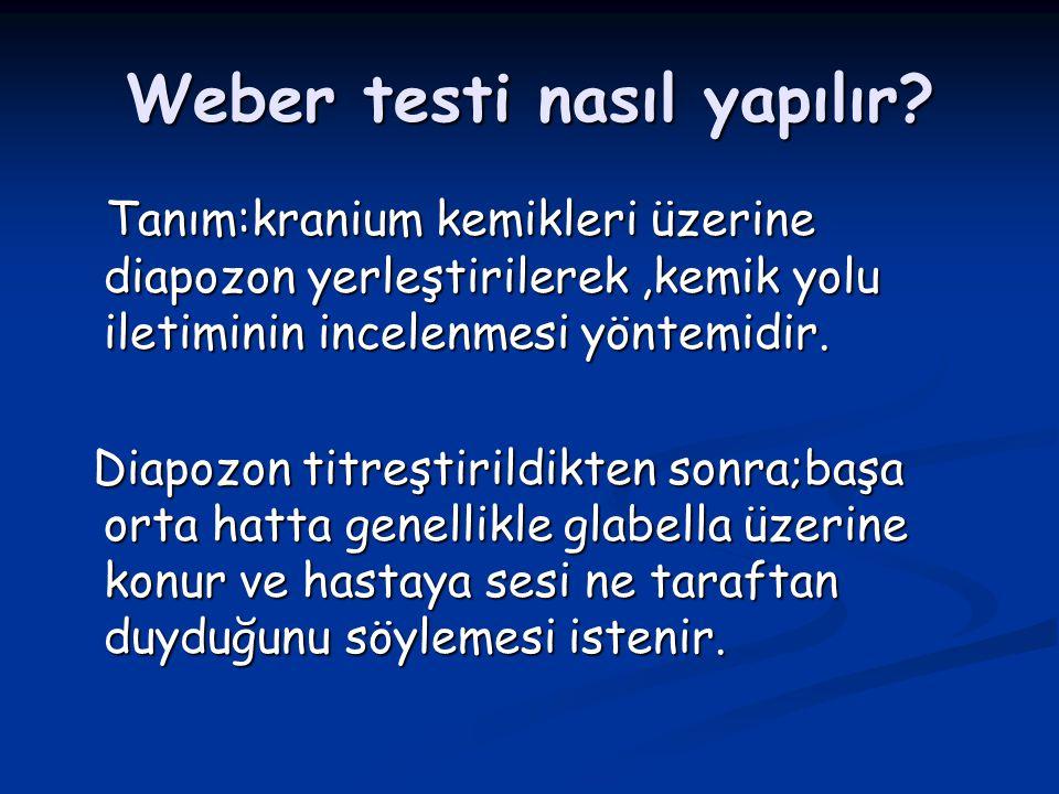 Weber testi nasıl yapılır? Tanım:kranium kemikleri üzerine diapozon yerleştirilerek,kemik yolu iletiminin incelenmesi yöntemidir. Tanım:kranium kemikl
