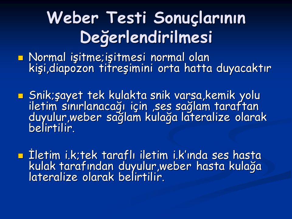 Weber Testi Sonuçlarının Değerlendirilmesi Normal işitme;işitmesi normal olan kişi,diapozon titreşimini orta hatta duyacaktır Normal işitme;işitmesi n