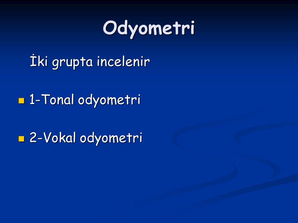 Odyometri İki grupta incelenir İki grupta incelenir 1-Tonal odyometri 1-Tonal odyometri 2-Vokal odyometri 2-Vokal odyometri
