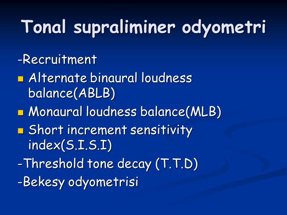 Tonal supraliminer odyometri -Recruitment Alternate binaural loudness balance(ABLB) Alternate binaural loudness balance(ABLB) Monaural loudness balanc